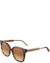 Bottega Veneta Two Tone Square Havana Plastic Sunglasses Brown