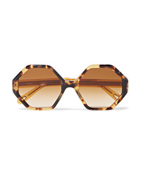 Chloé Willow Hexagon Frame Tortoiseshell Acetate Sunglasses