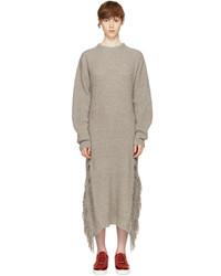Beige cashmere fringed sweater dress medium 5219075