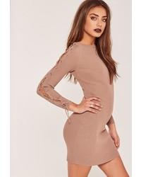 Nude lace up sleeve mini sweater dress medium 3647063