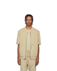 Essentials Beige Sleeveless Zip Up Sweater