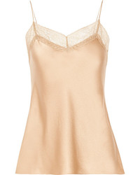 Vince Lace Trimmed Silk Satin Camisole Sand