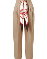 Burberry Med Pleated Cotton Twill Tapered Pants