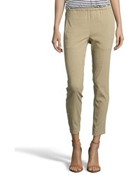 Theory Summer Khaki Linen Korene Cropped Pants