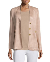 Misook Textured Gold Button Jacket Sand Petite