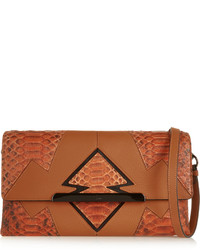 Christian Louboutin Rougissime Arizona Python Paneled Textured Leather Clutch