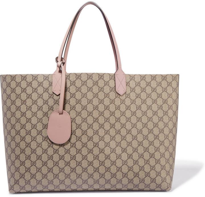 4f748535b ... Gucci Turnaround Medium Reversible Textured Leather Tote Beige