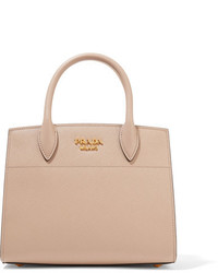 Prada Bibliothque Small Textured Leather Tote Taupe