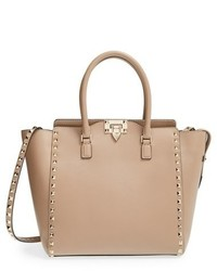 Valentino Rockstud Leather Double Handle Tote Beige