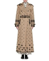 Valentino Beaded Gabardine Ankle Length Trench Coat