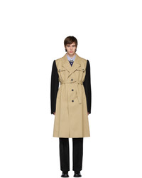 Maison Margiela Beige And Black Cotton Twill Trench Coat