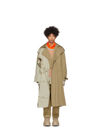Feng Chen Wang Beige Double Layer Modified Trench Coat