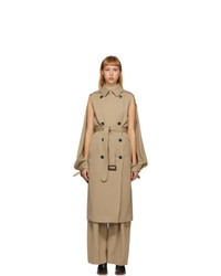 JW Anderson Beige Open Sleeve Cape Trench Coat