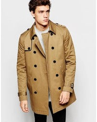 Asos Brand Shower Resistant Trench Coat With Double Breast In Tobacco