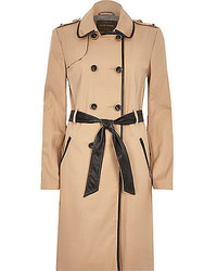 River Island Camel Leather Look Trim Trench Coat