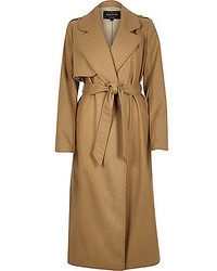 River Island Camel Wool Blend Longline Trench Coat