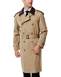Ike Behar Classic Fit Double Breasted Rain Jacket