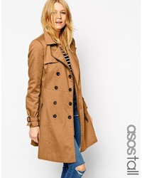 Asos Collection Tall Trench With Biker Detail In Skater Fit