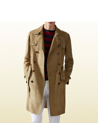 Gucci Khaki Suede Trench Coat