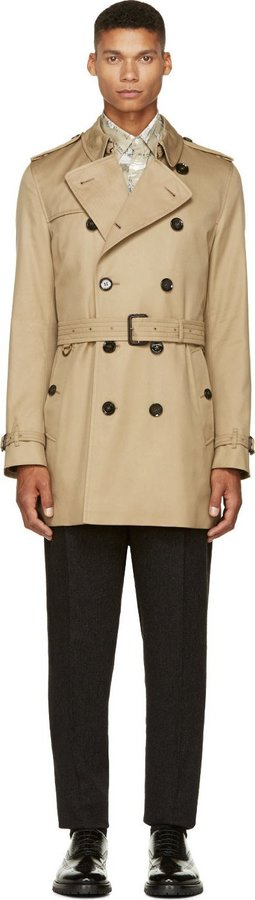 42f10672feab ... Burberry London Beige Heritage Mid Length Britton Trench Coat ...