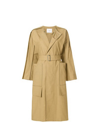 Ujoh Side Slit Collarless Trench Coat