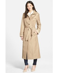 London Fog Single Breasted Long Trench Coat With Detachable Hood