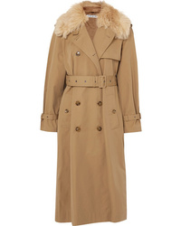 Elizabeth and James Stratford Shearling Trimmed Cotton Blend Twill Trench Coat
