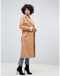 Missguided Trench Coat In Camel