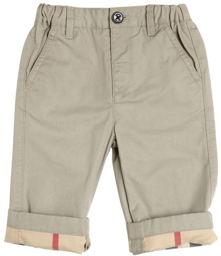 b73cf8582de0 ... Burberry Cotton Gabardine Pants With Check Cuffs ...