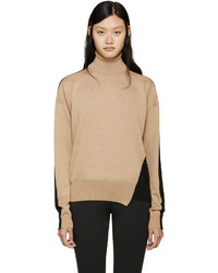 Jil Sander Camel Black Off Set Turtleneck