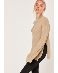 Missguided Camel Funnel Neck Ribbed Stitch Sweater