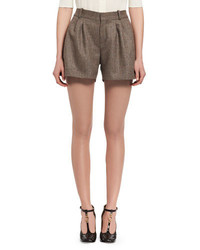 Chloé Chloe Fantasy Tweed Shorts Beige