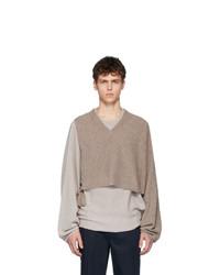Maison Margiela Beige Twinset Sweater