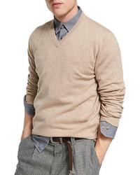 Brunello Cucinelli Cashmere V Neck Sweater