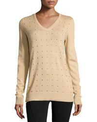 MICHAEL Michael Kors Michl Michl Kors Long Sleeve Studded Pullover Sweater Medium Camel