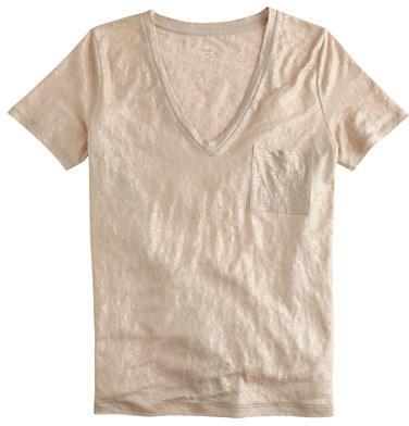 118a06c97eaf87 J.Crew Linen V Neck Pocket T Shirt In Metallic, $45 | J.Crew ...