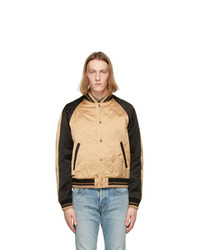 Saint Laurent Beige Quilted Teddy Bomber Jacket