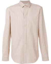 Tan Vertical Striped Dress Shirt
