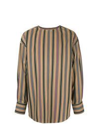 Tan Vertical Striped Long Sleeve Shirt