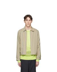 Tan Vertical Striped Shirt Jacket