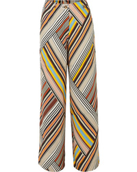 Tory Burch Sylvan Striped Silk Satin Wide Leg Pants