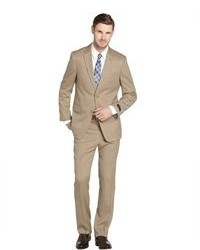Tommy Hilfiger Tan Striped Wool 2 Button Suit With Flat Front Pants
