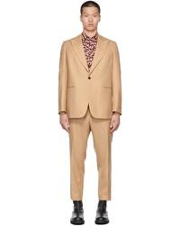 Dries Van Noten Beige Wool Pinstripe Suit