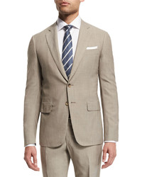 Isaia Narrow Stripe Two Piece Wool Suit Khaki