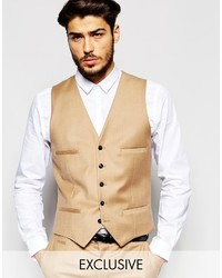 Noak Flannel Wedding Vest In Super Skinny Fit