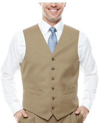 Stafford Stafford Travel Tan Herringbone Suit Vest Classic Fit
