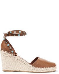Valentino Textured Leather Espadrille Wedge Sandals Tan