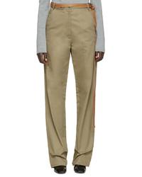 Loewe Beige Wide Leg Belted Trousers