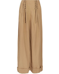 Ulla Johnson Gaucho Pleated Broadcloth Wide Leg Pants Light Brown