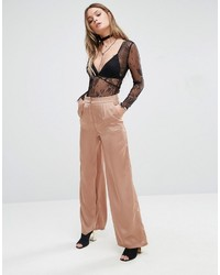 Glamorous High Waist Wide Leg Pants In Luxe Fabric